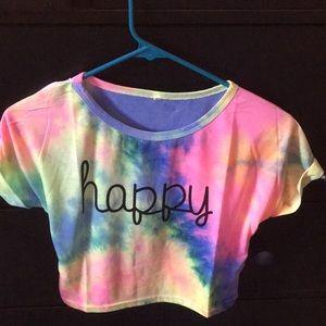 "SHEIN ""HAPPY"" CROP TOP TIE-DYE SHIRT"